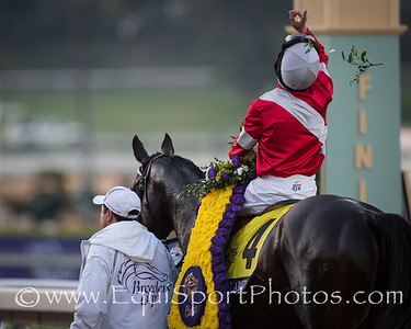 Brian Hernandez celebrating his victory in the Breeders' Cup Classic aboard Fort Larned.