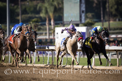 Shanghai Bobby (Harlan's Holiday) fights to the finish with He's Had Enough and third place finisher Capo Bastone. in the Breeders' Cup Juvenile.