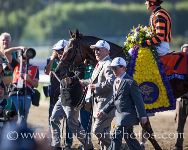 Little Mike entering the winner's circle after winning the Breeders' Cup Turf.
