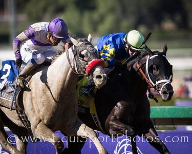 Shanghai Bobby (Harlan's Holiday) wins the Breeders' Cup Juvenile over a tight finish with He's Had Enough.  Rosie Napravnik up, Todd Pletcher trainer, Starlight Racing and Coolmore owners.