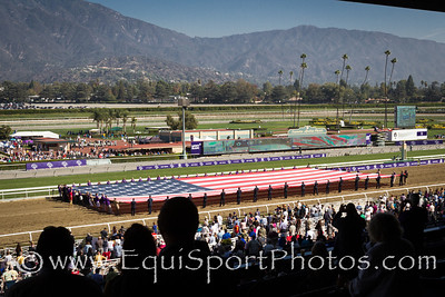 The singing of the National Anthem at Santa Anita Park prior to the start of Saturday's Breeders' Cup races.
