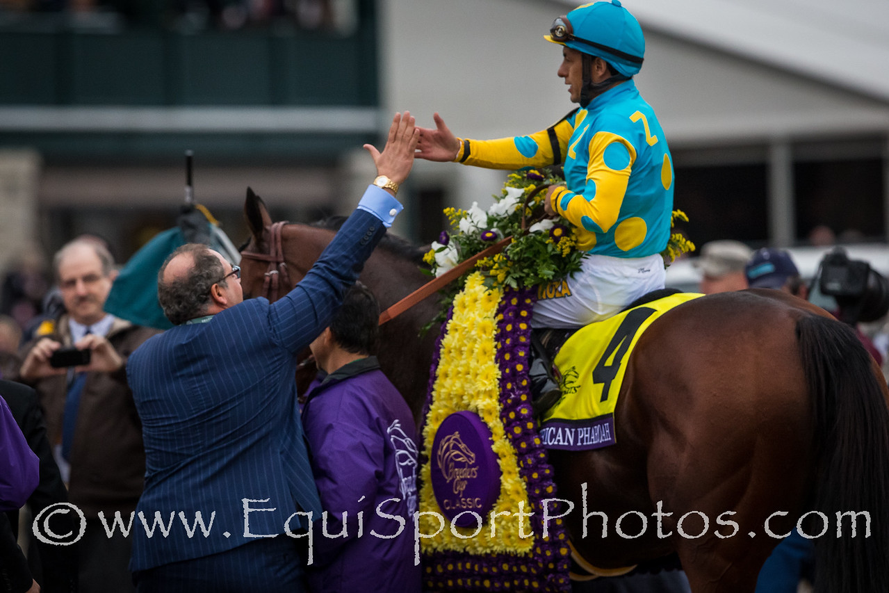 Owner Zayat and rider Espinoza exchage high fives after winning the Breeders' Cup Classic.