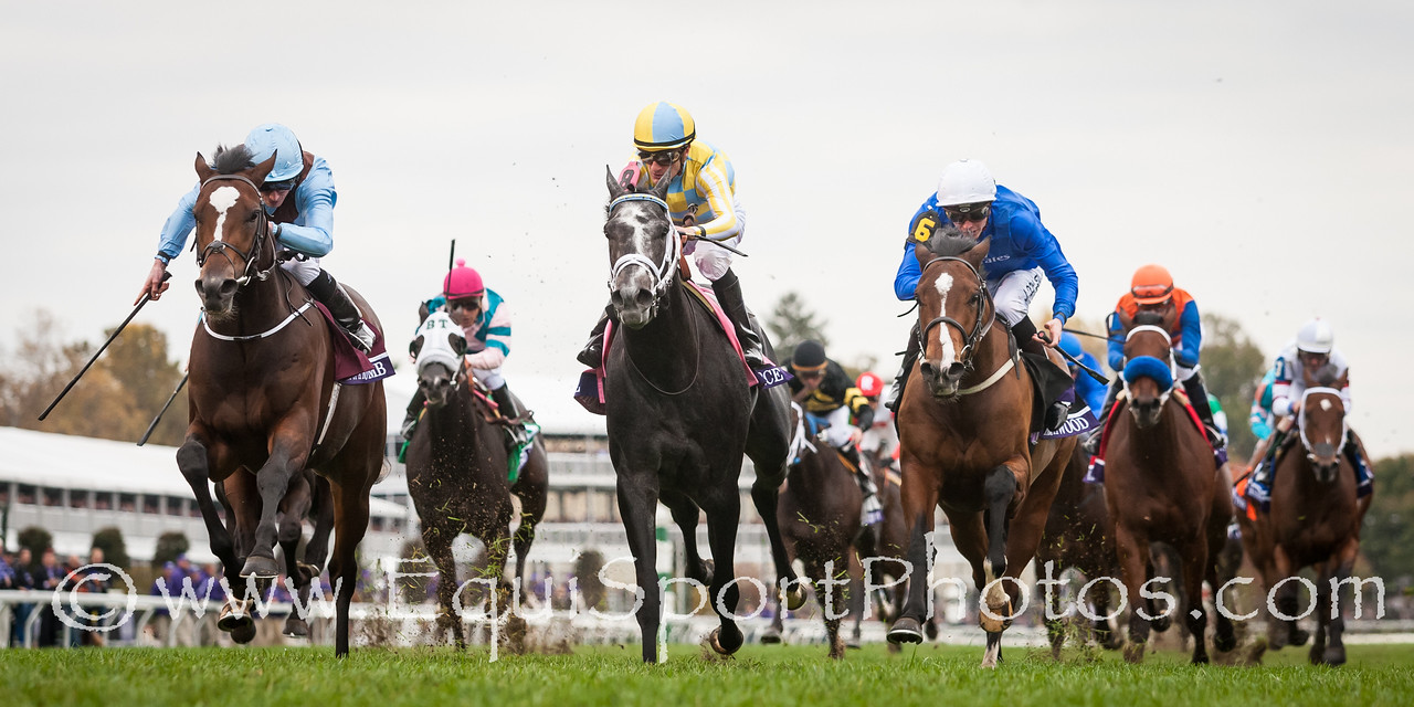 Hit A Bomb, (Far outside, War Front), Ryan Moore up, wins the BC Juvenile Turf. Airoforce runs second, Birchwood thrid. Trainer: Aidan O'Brien, Owner: Evelyn Stockwell.