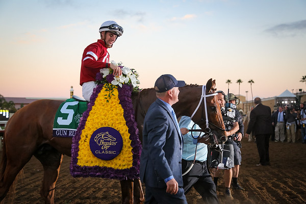 Gun Runner (Candy Ride) wins the Breeders' Cup Classic at Del Mar on 11.4.2017. Florent Geroux up, Steve Asmussen trainer, Winchell Thoroughbreds and Three Chimneys Farm owners.