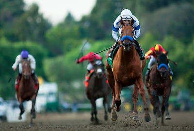 Sidney's Candy with Joel Rosario up wins the Sir Beaufort Stakes at Santa Anita Park, Arcadia CA. December 26, 2010. Credit: Alex Evers/EquiSport Photos
