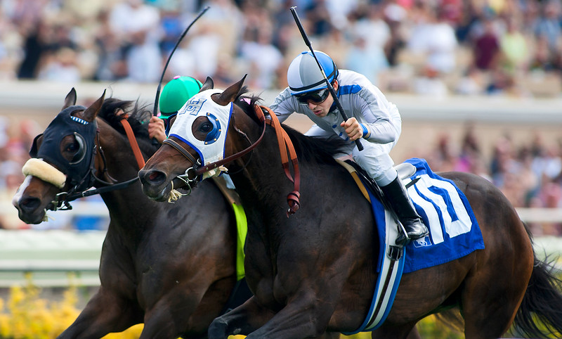 Lilly Fa Pootz (Gilded Time), Joe Talamo up, defeats Theodora and Mike Smith to win the Osunitas Stakes at Del Mar Race Course, Del Mar Calif. July 25,2010ae (Alex Evers/EquiSport Photos) Editorial Use Only