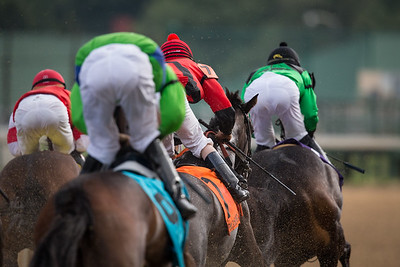Jockey's and horses going by the first turn