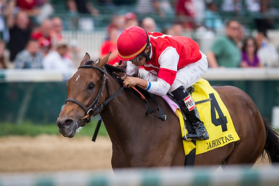 Cristina's Journey (Any Given Saturday) wins the Pocahontas (G2) at Churchill Downs on 9.6.2014. Miguel Mena up, Dale Romans trainer, GSN Racing owner.