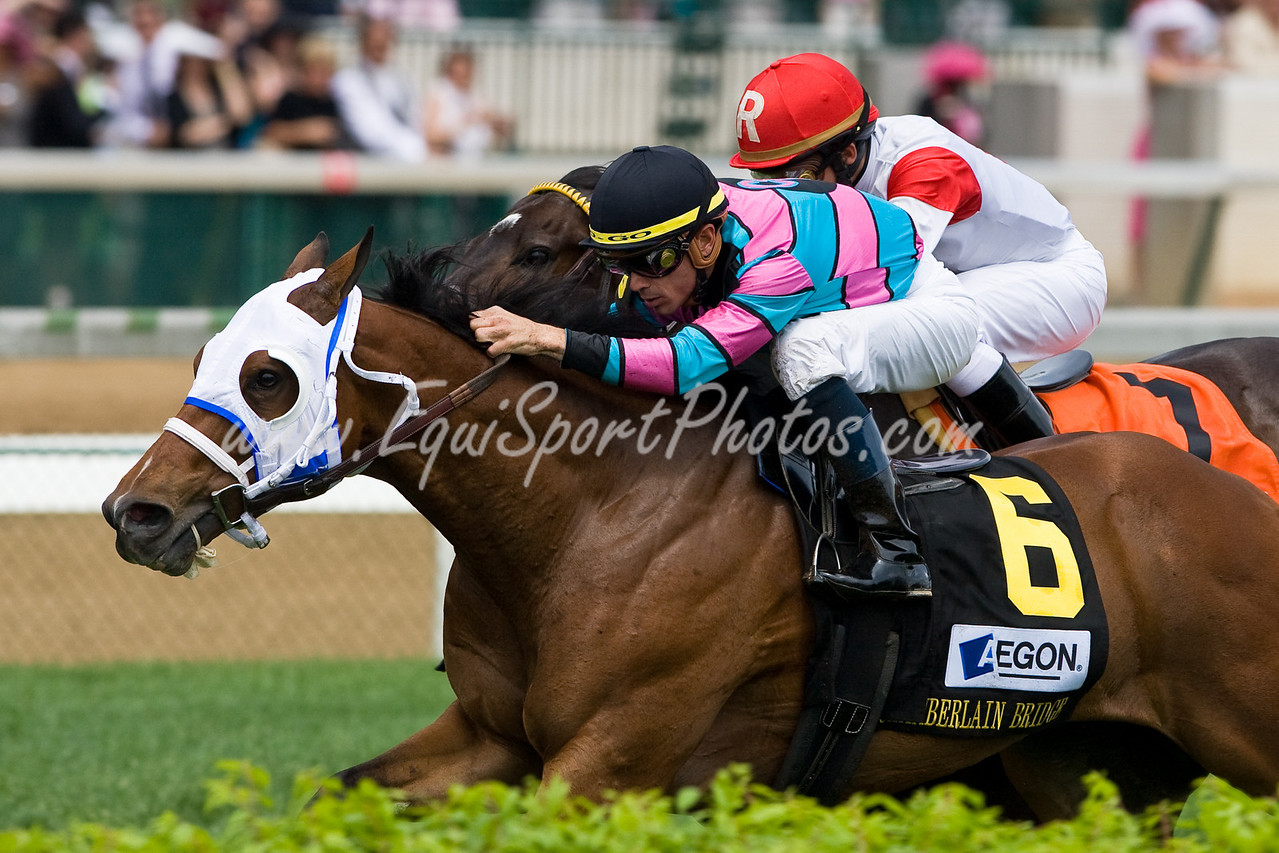 Chamberlain Bridge (War Chant), Garrett Gomez up, wins the Aegon Sprint Turf Sprint at Churchill Downs 05.01.2009mw (EquiSport Photos)