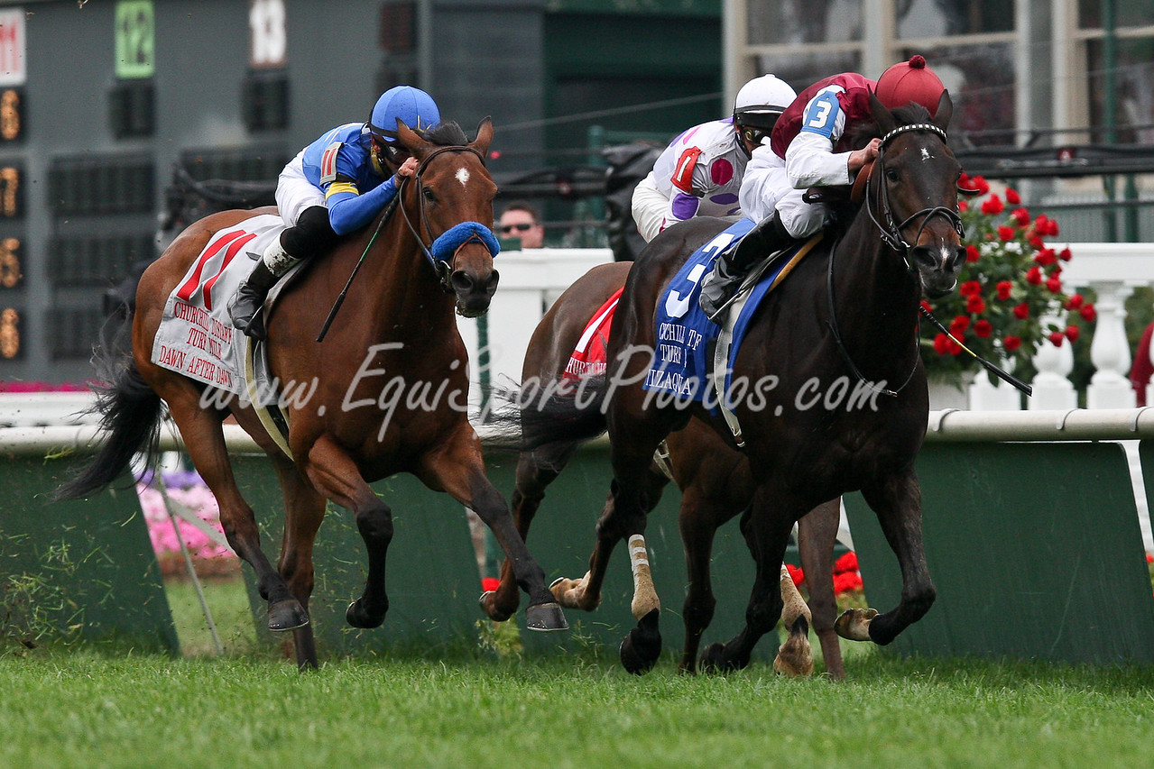 Tizaqueena (Tiznow) wins the Churchill Distaff Turf Mile. Owned by Darley Stable and Trained by Michael Stidham.  Ridden by Jamie Theriot.  05.02.09