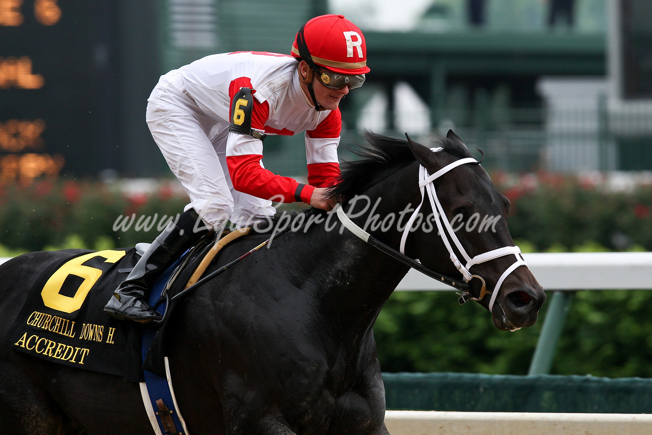 Accredit (E Dubai) wins the Churchill Downs for 4 yr olds and up.  Owned by Ken and Sarah Ramsey and trained by  Michael Maker.
