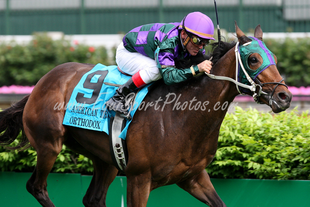 Orthodox with Jon Court up wins the American Turf at Churchill Downs. 05.01.09. Owned and Trained by John Glenney.