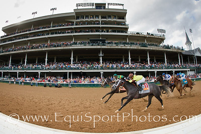 Pool Play (outside, Silver Deputy) wins the Stephen Foster Handicap, over Mission Impazible (inside), at Churchill Downs on 06.18.2011.  Miguel Mena up, Mark Casse trainer, William Farish owner.