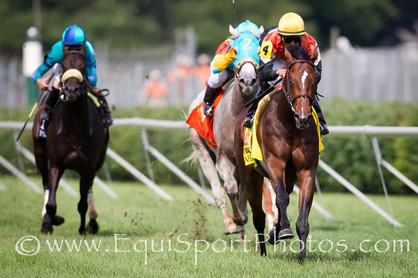 Banned (Kitten's Joy) wins the Jefferson Cup (G3) at Churchill Downs on 06.18.2011.  Jose Lezcano up, Tom Proctor trainer, Glenn Hill Farm owner.