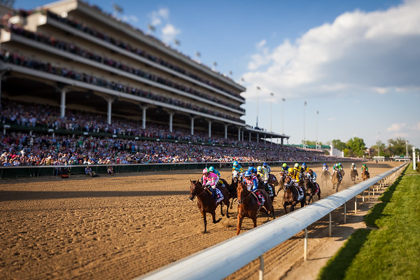Dortmund leads the feild under the wire for the first time in the Ky. Derby 5.02.15. Trainer: Bob Baffert, Owner: Zayat Stables.