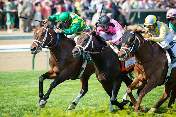 Finnegans Wake (Powerscourt), Victor Espinoza up, wins the G1 Woodford Reserve Turf Classic at Churchill 5.02.15. Trainer: Peter Miller, Owner: Donegal Racing.