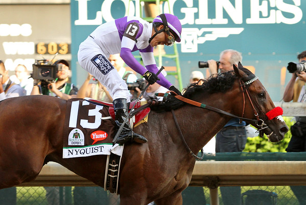 Nyquist (Uncle Mo) and jockey Mario Gutierrez win the Kentucky Derby (Gr I) at Churchill Downs 5/7/16. Trainer: Doug O'Neill. Owner: Reddam Racing LLC