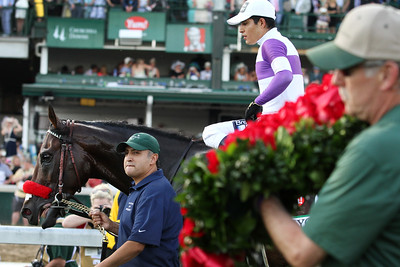 Nyquist (Uncle Mo) and jockey Mario Gutierrez win the Kentucky Derby (Gr I) at Churchill Downs 5/5/16. Trainer: Doug O'Neill. Owner: Reddam Racing LLC