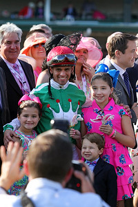 Javier Castellano and his children smile for the camera after the Kentucky Oaks (Gr I) at Churchill Downs 5/6/16.