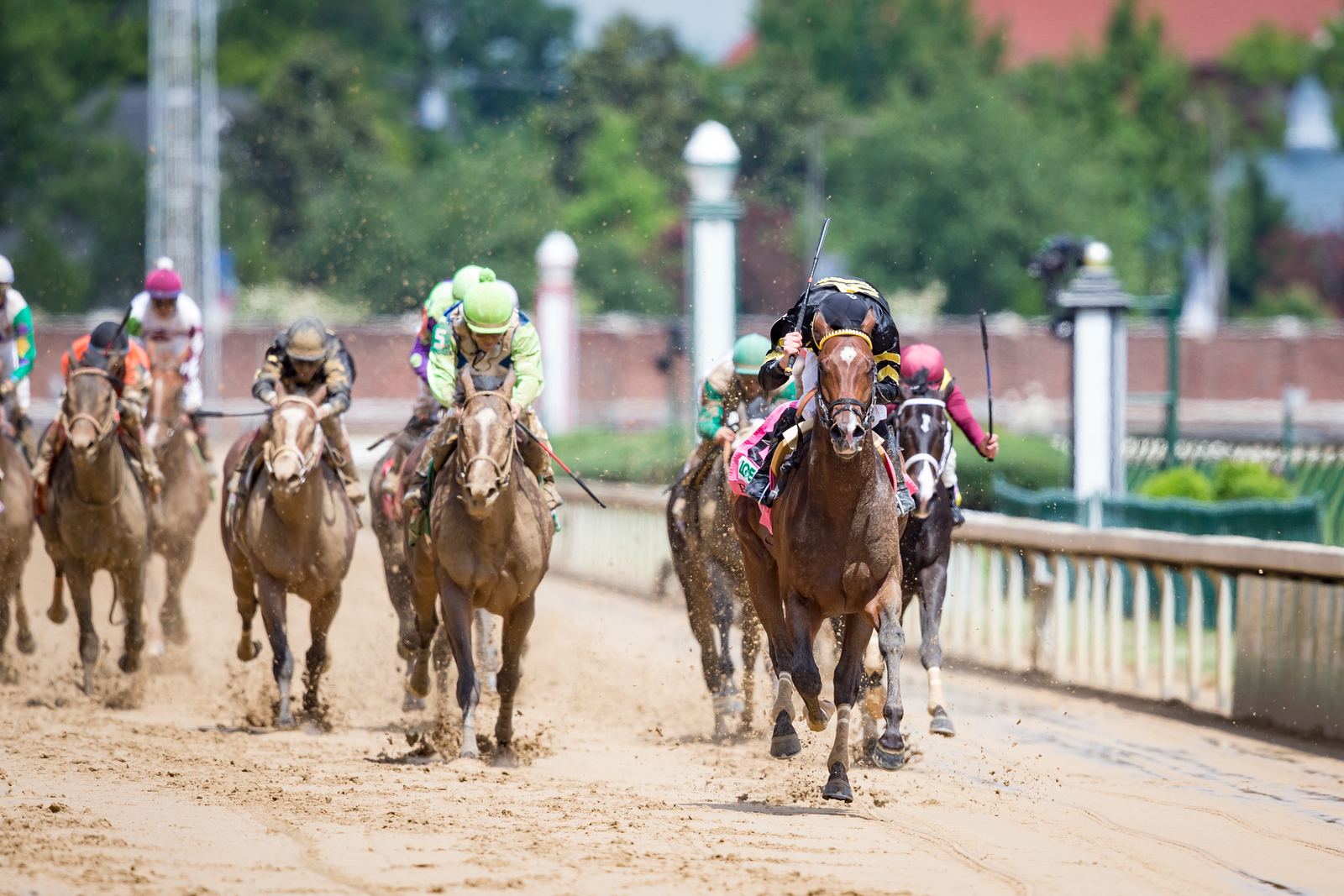 Wild Shot (Trappe Shot) wins the Pat Day Mile (G3) at Churchill Downs on 5.6.2017. Corey Lanerie up, George Arnold trainer, Calumet Farm owner.