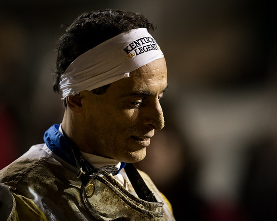 John Velazquez awaits the results of an iquiry after Seeking the Soul (Perfect Soul) wins the Clark Handicap (G1) at Churchill Downs on 11.24.2017, Dallas Stewart trainer, Charles Fipke owner.