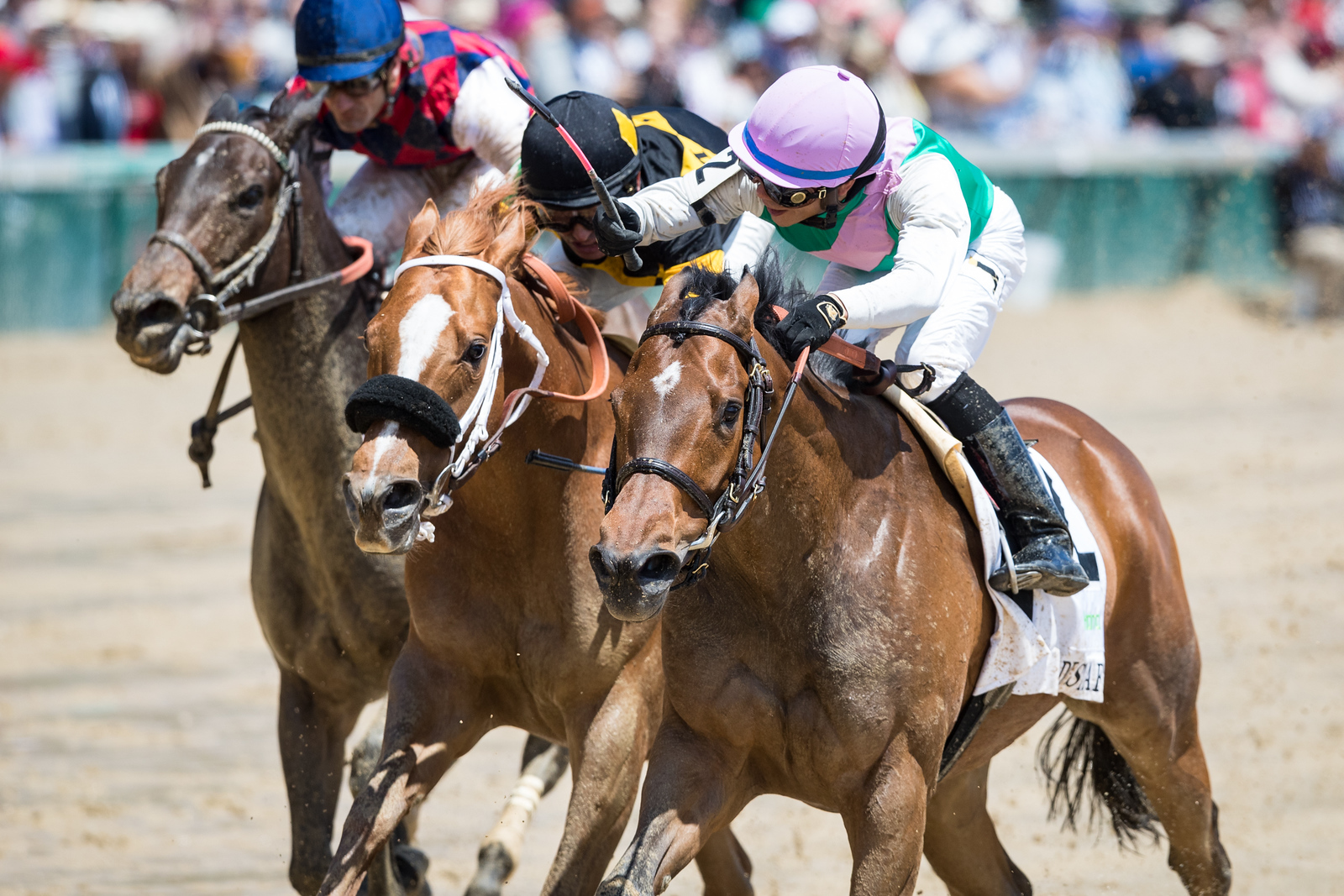 Paulassilverlining (Ghostzapper) wins the Humana Distaff (G1) at Churchill Downs on 5.6.2017. Jose Ortiz up, Chad Brown trainer, Juddmonte Farms owner.