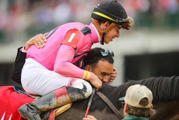 Salty (Quality Road) wins the La Troienne (G1) at Churchill Downs on 5.4.2018. Tyler Gaffalione up, Mark Casse trainer, Gary Barber, Baccari Racing Stable andChester Prince owners.
