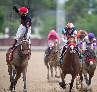 She's a Julie (Elusive Quality) wins the La Troienne (G1) at Churchill Downs on 5.3.2019. Ricardo Santana up, Steve Asmussen trainer, Whispering Oak Farm, Team Hanley, Tim and Anna Cambron, Bradley Thoroughbreds and Madaket Stables owners.