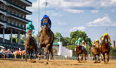 """Maxfield (Street Sense), Jose Ortiz up, wins the Stephen Foster Stakes, a """"Win and You're In"""" for the Breeders' Cup Classic, at Churchill Downs 6.26.21. Brendan Walsh trainer. Godolphin owner."""