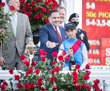 Medina Spirit (Protonico) wins the Kentucky Derby (G1) at Churchill Downs. John Velazquez up, Bob Baffert trainer, Zedan Racing owner.