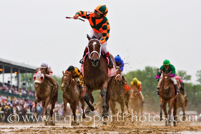 Proud Spell (Proud Citizen), Gabriel Saez up, wins the Kentucky Oaks at Churchill Downs. 5.02.2008mw  ( Horse Racing Photos by EquiSport Photos )