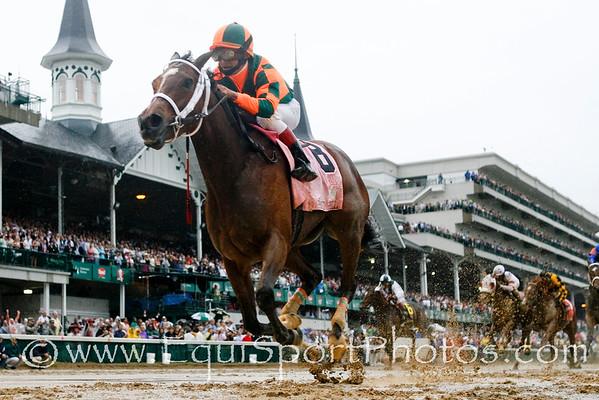 Proud Spell (Proud Citizen), Gabriel Saez up, wins the Kentucky Oaks at Churchill Downs. 5.02.2008  ( Horse Racing Photos by EquiSport Photos )