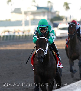 Soldat (War Front), Alan Garcia up, wins the Fountain of Youth, Trainer Kiaran McLaughlin, Owners: Harvey A. Clarke, W. Craig Robertson III, Paul Braverman and Namcook Stable Gulfstrean Park 02.26.11