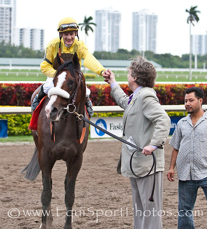 Union Rags (Dixie Union) with Julien Leparoux up wins The Fountain of Youth Gulfstream Park, Owner: Chadds Ford Stables, Trainer: Michael Matz 11th Race Gulfstream Park 02/26/2012 Photo by Joe Ganley