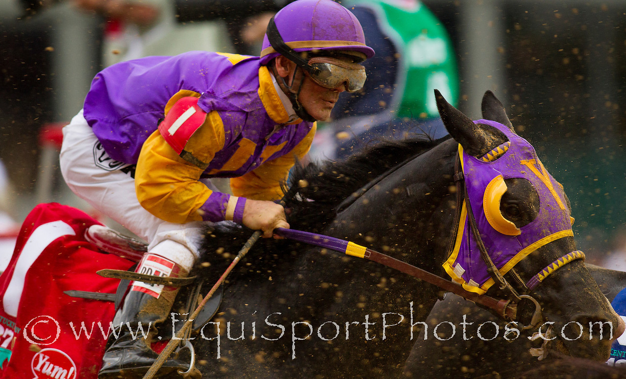 ArchArchArch with John Court up races by the grandstand for the first time in the Kentucky Derby at Churchill Downs, Louisville KY. May 7, 2011. Credit: Alex Evers/EquiSport Photos