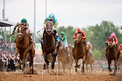 Nehro (Mineshaft), Corey Nakatani up, runs second in the Kentucky Derby at Churchill 5.07.2011mw. Trainer - Steve Asmussen, Owner - Zayat Stables.