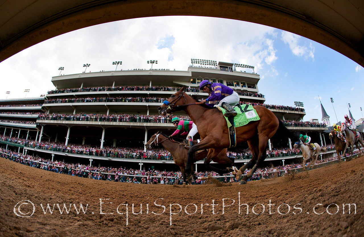 Plum Pretty with Martin Garcia aboard (right) defeats St. John's River with Rosie Napravnik to win the Kentucky Oaks at Churchill Downs, Louisville Ky. May 6, 2011  Credit: Alex Evers/Equisport Photos