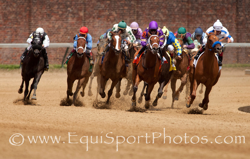 Coming out of the turn at the 56th running of The Eight Belles (G3) race at Churchill Downs 05.06.11.