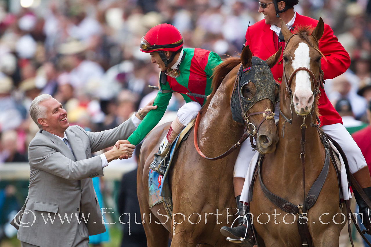 Todd Pletcher congratulates Johnny Valezquez on his win in the Kentucky Derby.  John Valezquez had been scheduled to ride the Pletcher trained Uncle Mo until he was scratched.