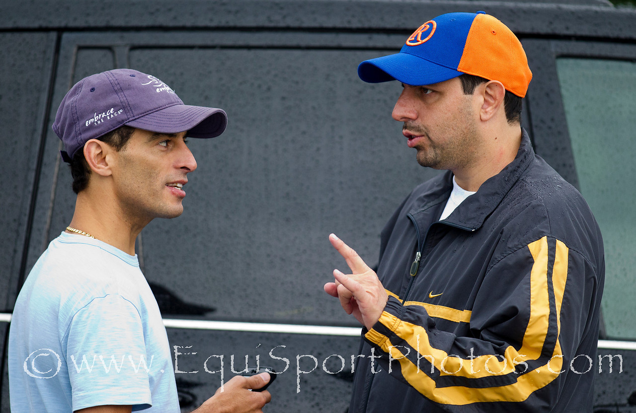 John Velazquez talks with owner Mike Repole after Uncle Mo's final derby workout at Churchill Downs, Louisville KY. May 1, 2011. Credit: Alex Evers/EquiSport Photos