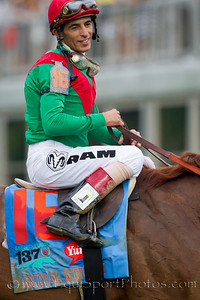 Johnny Valezquez, jockey, on Animal Kingdom in the winners circle.