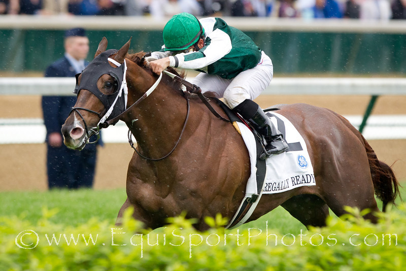 Regally Ready (More Than Ready), Corey Nakatani up, wins the Twin Spires Turf Sprint at Churchill 5.07.2011mw. Trainer - Steve Asmussen, Owner - Vinery Stables