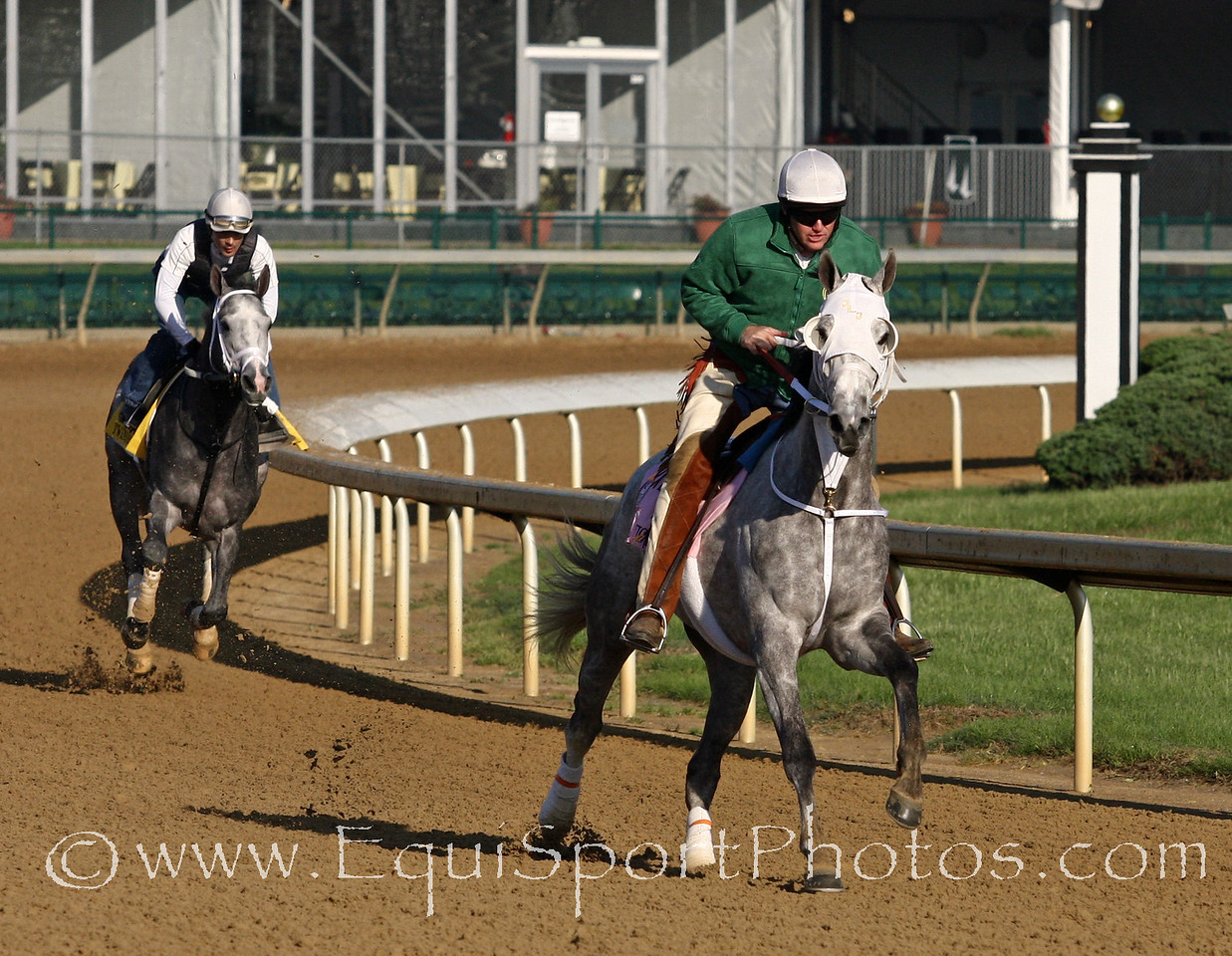 Joyful Victory and Twinspired gallop at Churchill Downs 5/5/11.