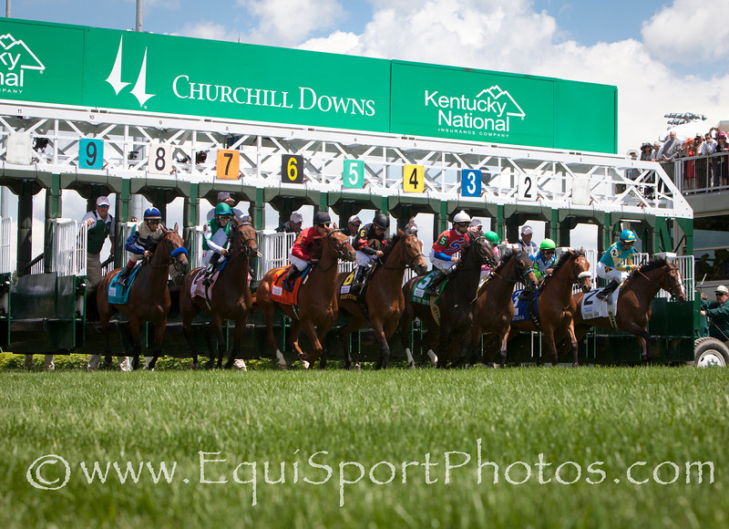Starting gate of The Edgewood Stakes race at Churchill Downs 05.06.11.