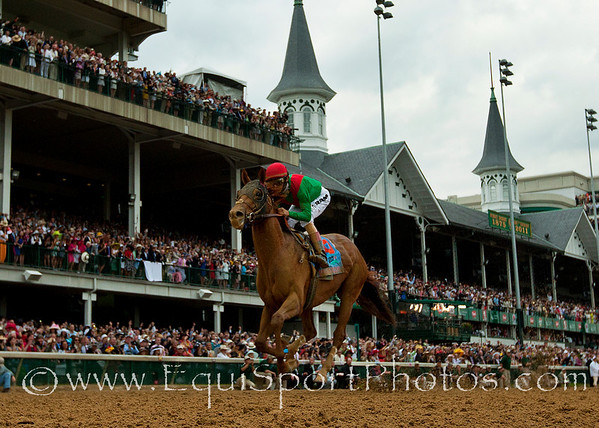 Animal Kingdom with John Velazquez up wins the Kentucky Derby at Churchill Downs, Louisville KY. May 7, 2011. Credit: Alex Evers/EquiSport Photos