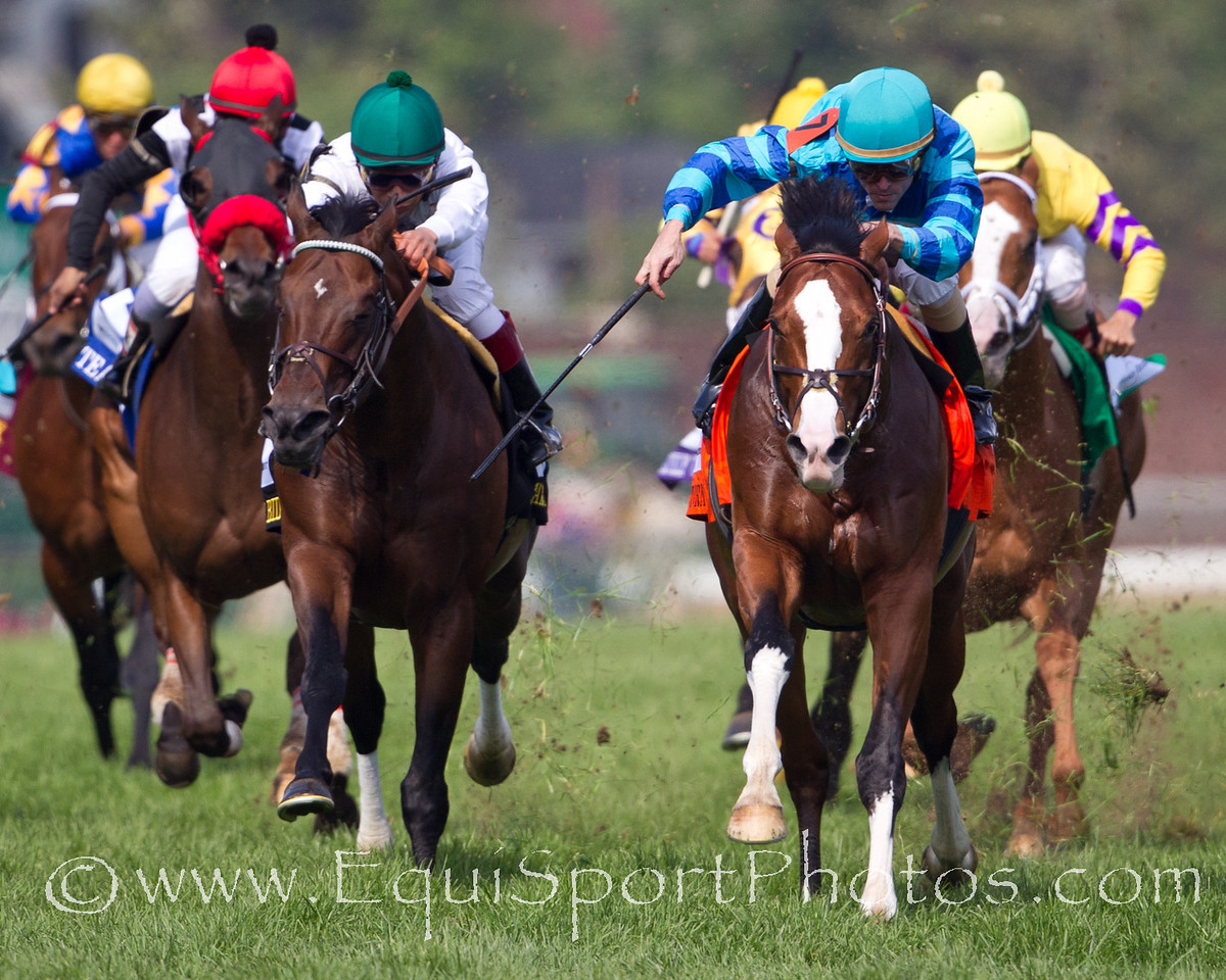 Get Stormy (Stormy Atlantic) wins The Woodford Reserve Turf Classic at Churchill Downs on 05.07.2011.  Ramon Dominguez up, Tom Bush trainer, Sullimar Stables owner.