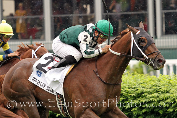 Regally Ready (More Than Ready) and jockey Corey Nakatani win the Twin Spires Turf Sprint (Gr. III) at Churchill Downs 5/7/11.