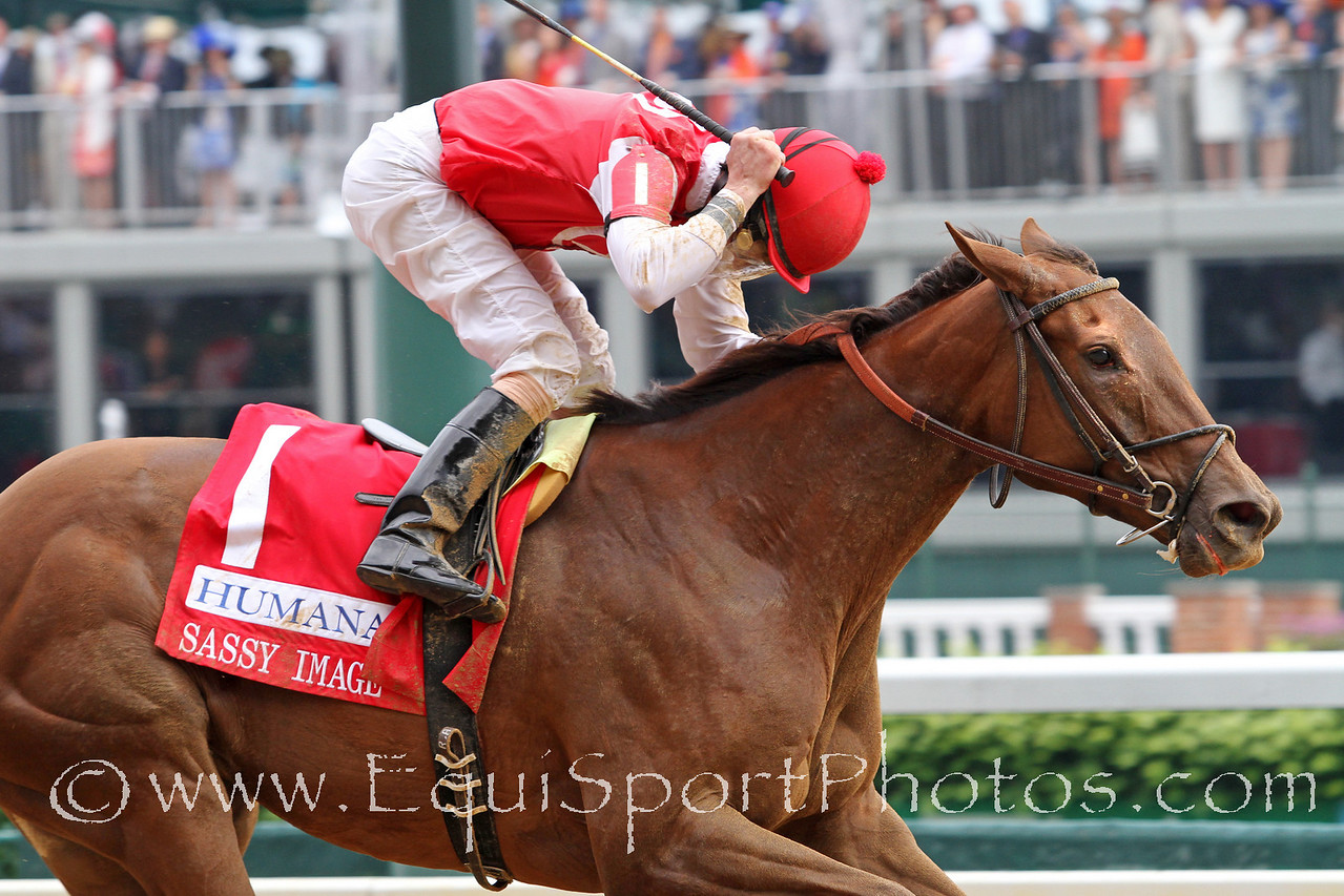 Sassy Image (Broken Vow) and jockey Robby Albarado win the Humana Distaff (Gr. I) at Churchill Downs 5/7/11.