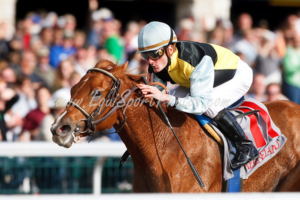 Donna Getyourgun (Stormy Atlantic f.), Julien Leparoux up, wins a Maiden Special Weight at Keeneland 10.25.2009mw