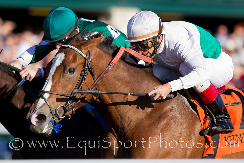 Dynamic Holiday (Harlan's Holiday), John Velazquez up, wins an MSW at Keeneland 10.22.2010